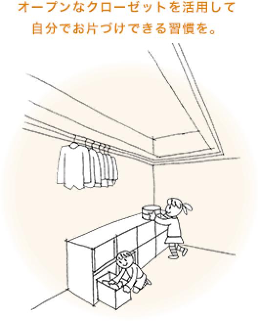 オープンなクローゼットを活用して自分でお片付けできる習慣を。