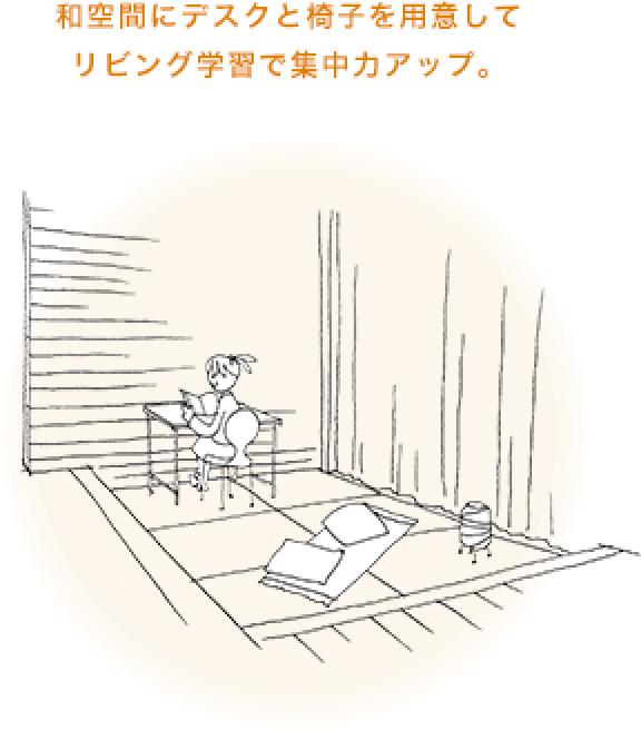 和空間にデスクと椅子を用意してリビング学習で集中力アップ。